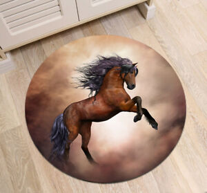 Details About Fantasy Wild Horse Round Floor Mat Area Rugs For Livingroom Bedroom Decor Carpet