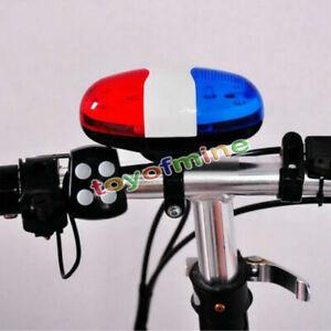 6-BICICLETTA-POLIZIA-LED-Light-4-FORTE-SUONO-SIRENA-TROMBA-CORNO-ciclismo-Bell