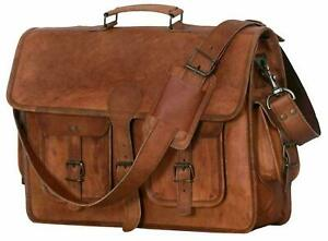 Old Vintage Brown Real Leather Messenger Satchel Shoulder Laptop Bag Briefcase