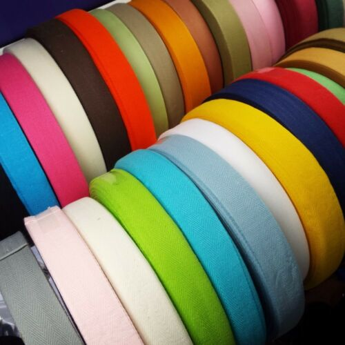 35 COLOUR 11mm 100/% Pure Cotton Herringbone Twill Tape Bunting Ties BUY 1 2 4 8m