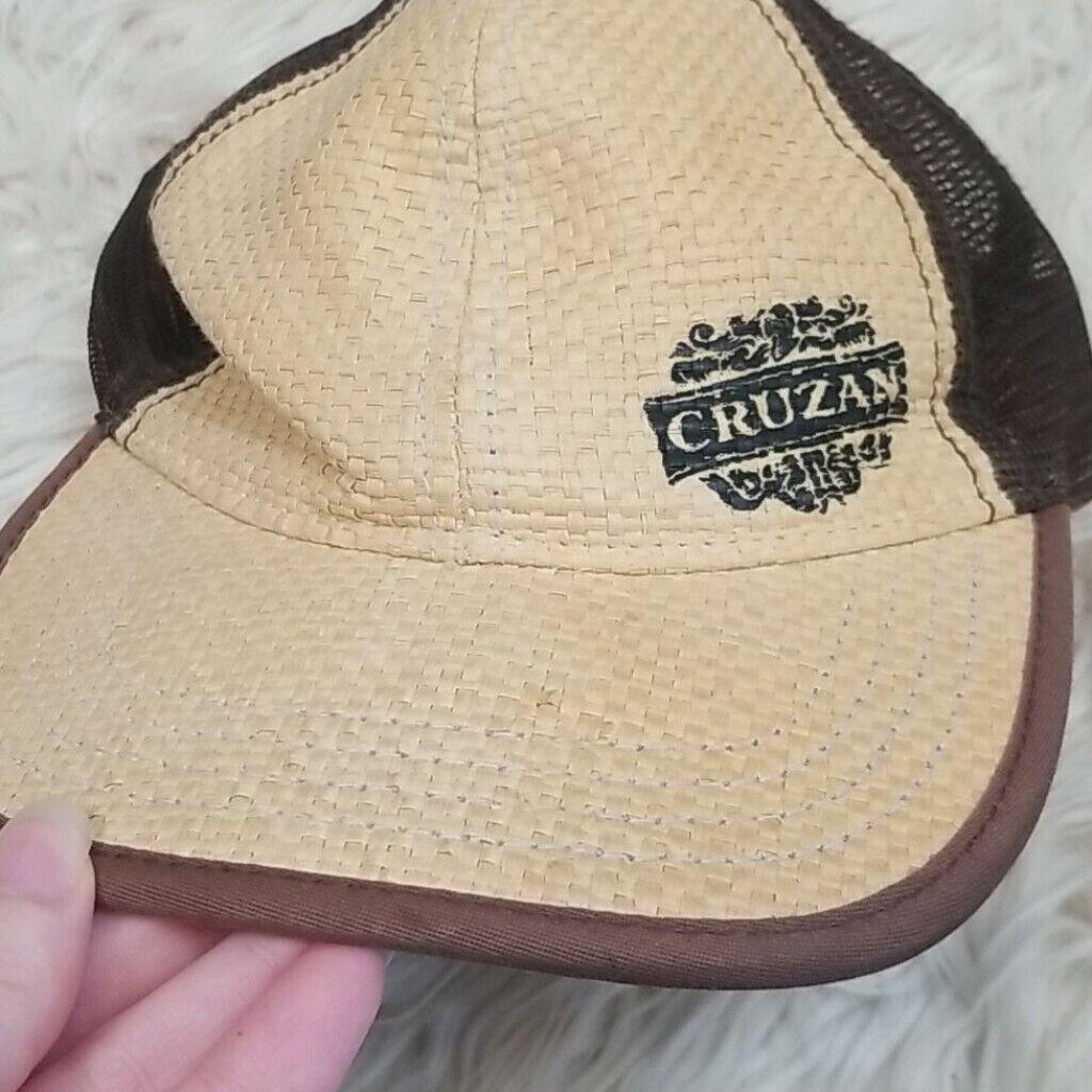 Cruzan Rum Bamboo Wicker Mesh Straw Style Hat Cap - image 2