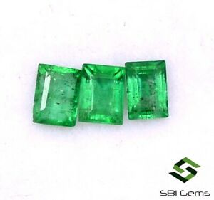 Fine Dark Aquamarine 5x3 Emerald Cut 3 Stones 0.90cts o
