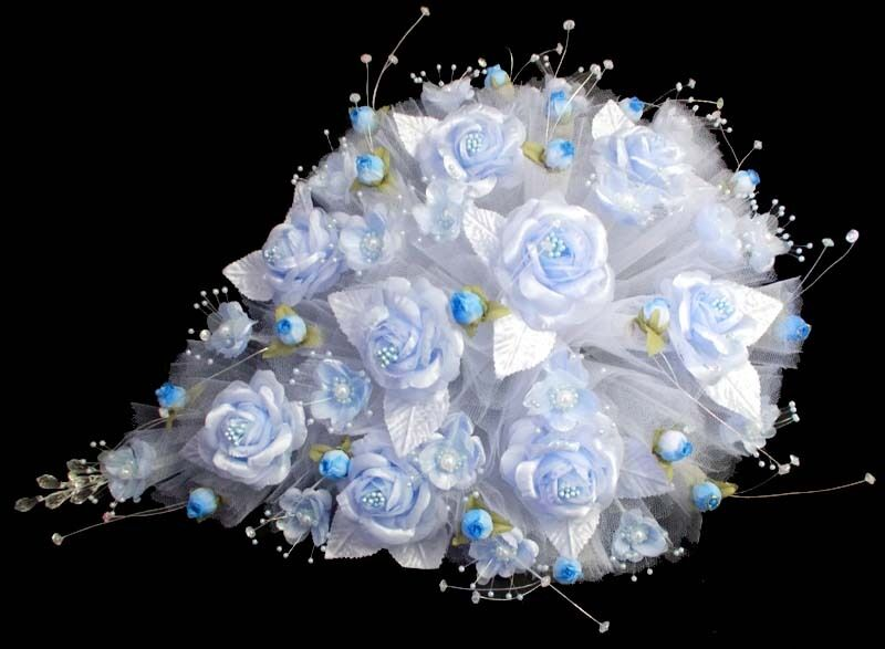 Tear Drop Bridal Quinceanera Bridesmaid Throw Flower Bouquets Baby Blau (18922^