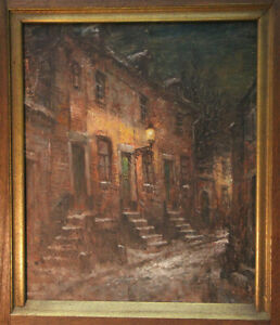 Walthere-Joseph-Neuhof-1904-1984-Large-Oil-Paintings-Nocturnal-Alley