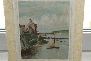 Huile-sur-panneau-034-Arriere-port-de-la-ville-Le-Conquet-034-signe-par-Boussat-1949