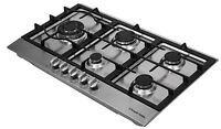 Russell Hobbs Glass Hob With 5 Gas Burners, Manual Dial Control, Rh75gh601ss