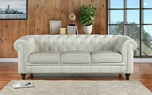 Classic Scroll Arm Real Leather Chesterfield Sofa (Off-White ...