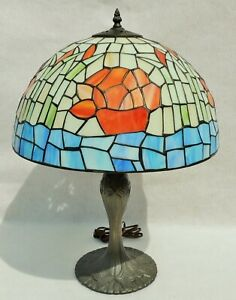 Antique-Vtg-Signed-Tiffany-Style-Leaded-Stained-Glass-Bamboo-Flower-Table-Lamp