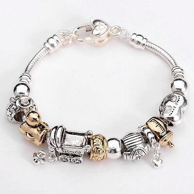 XMAS European Murano Glass Beads sterling Silver charm Bracelet XB086 +box