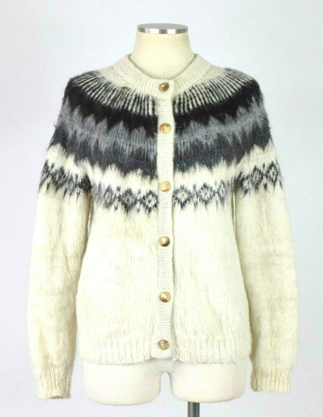 Chasqui Hand Knit Alpaca Luxe Shaggy Cardigan Sweater Jumper Loose Fit Womens S