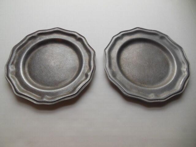 "Carson Pewter Saucers 2 Small Metal Plates 7 1/2"" Renaissance Metalware"