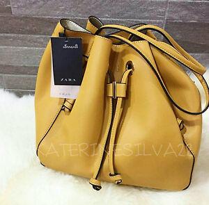 Image Is Loading Zara Woman Yellow Convertible Bucket Bag Ref 4788