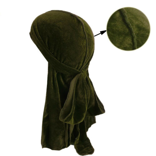 Men Women Velvet Breathable Bandana Hat Turban Caps Doo Durag Headwear Super