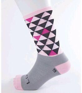 Pink Striped   Size L DeFeet SAKO7 Cycling Socks