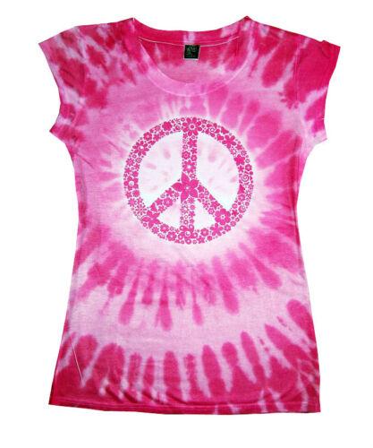 Juniors Peace Pink Tie Dye Sublimation T-Shirt Slim Fit