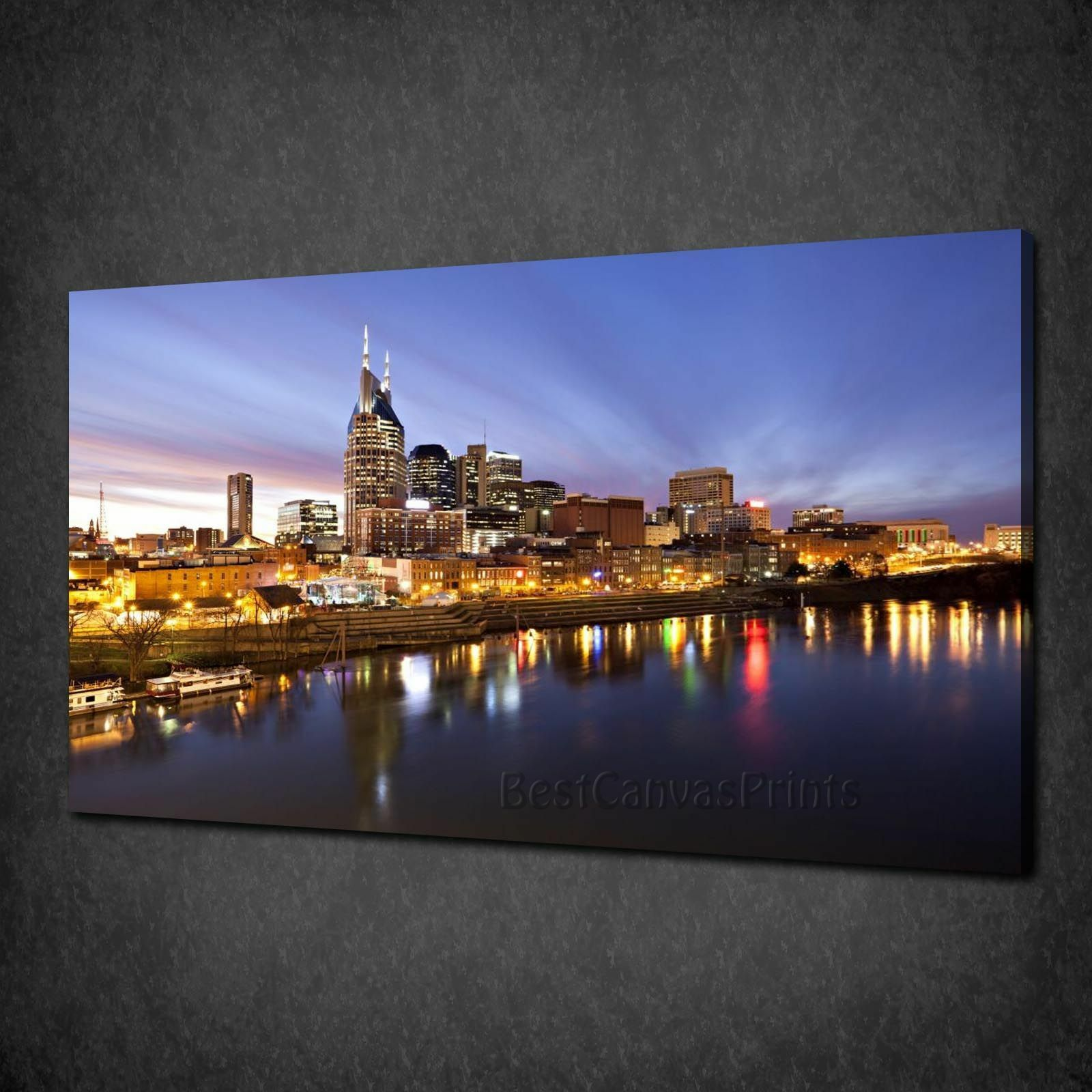 STUNNING NASHVILLE PANORAMA AT TWILIGHT BOX CANVAS PRINT WALL ART PICTURE