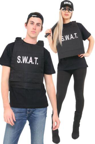 Kids Adults Matching Swat Team Vest /& Hat Police FBI Military Style Fancy Dress