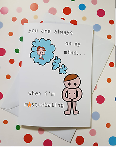 /'You Are Always On My Mind/' M*sturbating Adult Greeting Rude Offensive Card