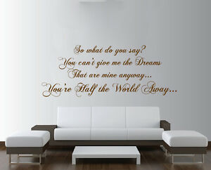 Image Is Loading OASIS Half The World Away Lyrics Large Wall
