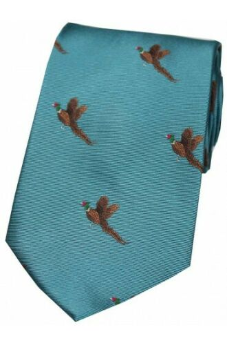 Soprano Flying Faisan Cyan Bleu Cravate en soie homme Pays de chasse tir T010