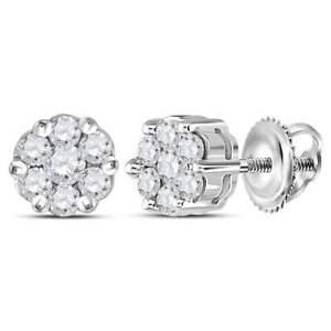 White Sapphire Flower Stud Earrings w/Screw backs - Sterling Silver - 7mm each