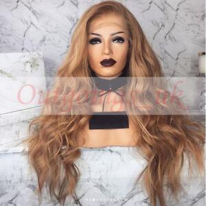 45f8ec8a96e Brazilian 100% Real Human Hair Wig Honey Blonde Wavy Remy Full Lace ...