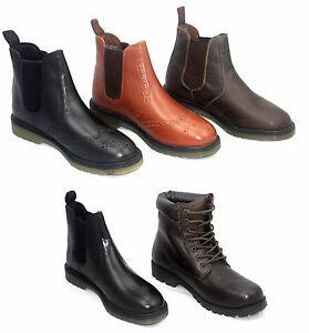 the latest de721 526cb Details zu Herren Chelsea-Boots Schuhe Schwarz Braun Chestnut Leder Luft  Sohle Größe 7-12