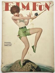 Vintage Oct. 1927 Film Fun Magazine Fishing Flapper Pin-Up Cover by Enoch Bolles