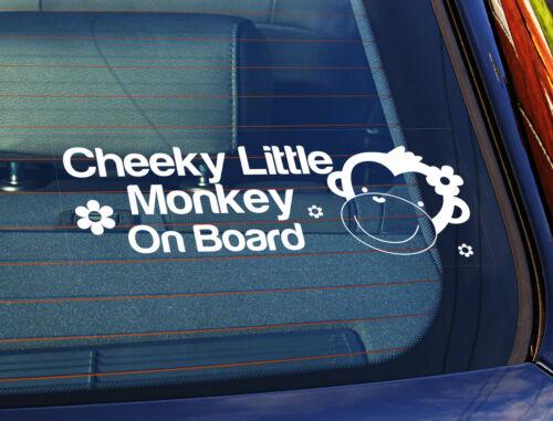 La estática coche ventana sign//decal Cheeky Little Monkey a bordo Girl 10