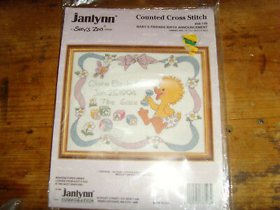 Suzy/'s Zoo counted cross stitch Baby/'s Friends Birth Announcement NEW NIP craft