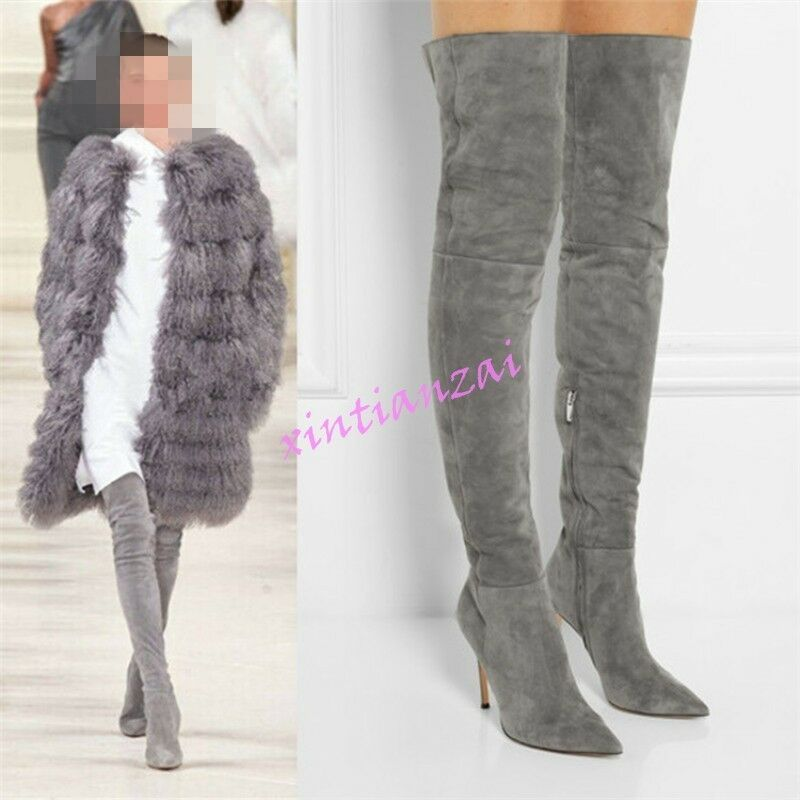 01 HOT Womens Over Knee High Boots Thigh High Stilettos shoes Knight Vintage Zip
