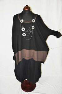 choco Xxxxl Oversize manchette manches Blogger shirt box Lagenlook noir A016q1w