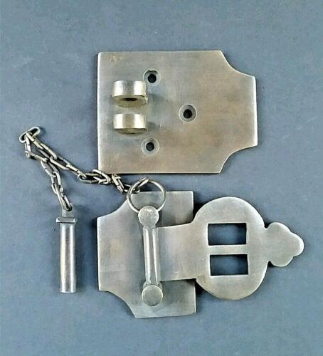 "Unique Vintage Cabin Cabinet Door Latch Hook Solid Brass Hasp Lock Gate 4/"" #X2"