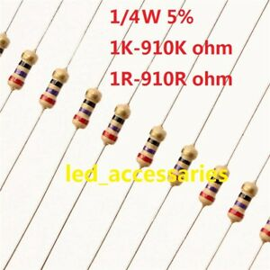 5x 1//4 Watt 0.25 Metal film Resistors 4.7K 5.1K 10K 22K 33K 47K 100K 220K 1M Ohm