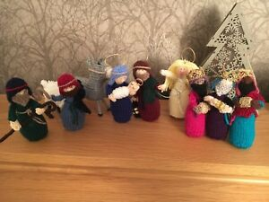 Charming-New-10-Piece-Hand-Knitted-Nativity-Set-Approx-4-5-Inches-High