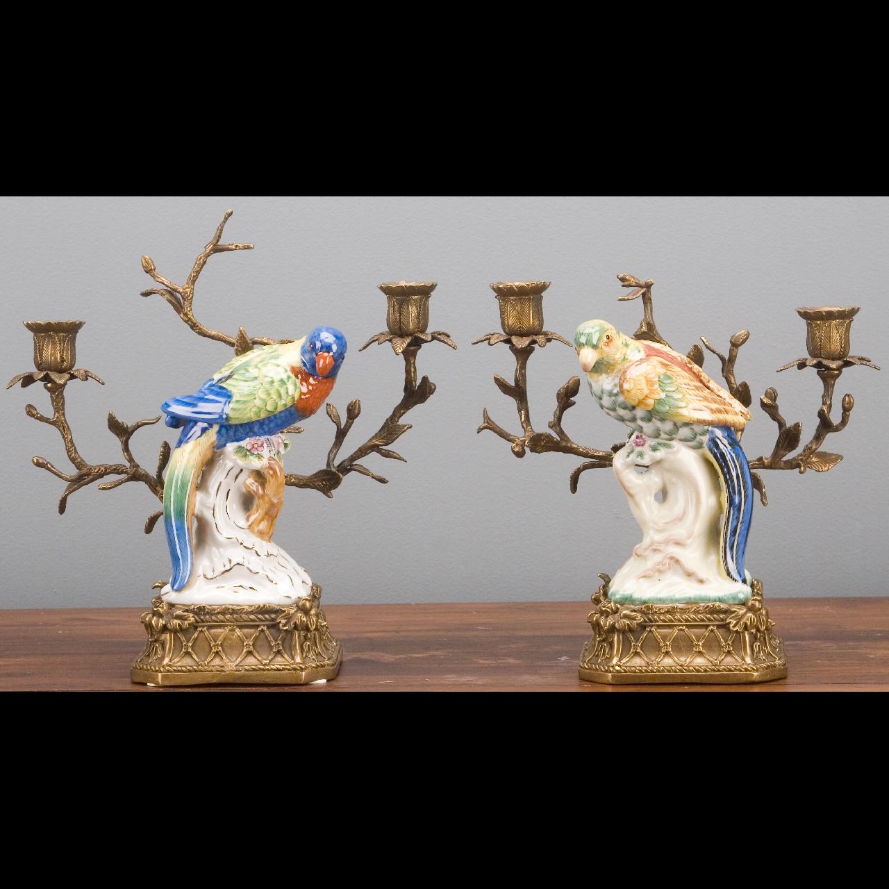 Set of Two Oriental Bronze Ormolu Parrot  Birds Porcelain Candle Holders,10''H.