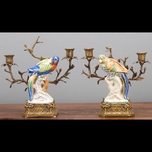 Set-of-Two-Oriental-Bronze-Ormolu-Parrot-Birds-Porcelain-Candle-Holders-10-039-039-H