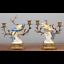 Set-of-Two-Oriental-Bronze-Ormolu-Parrot-Birds-Porcelain-Candle-Holders-10-039-039-H thumbnail 1