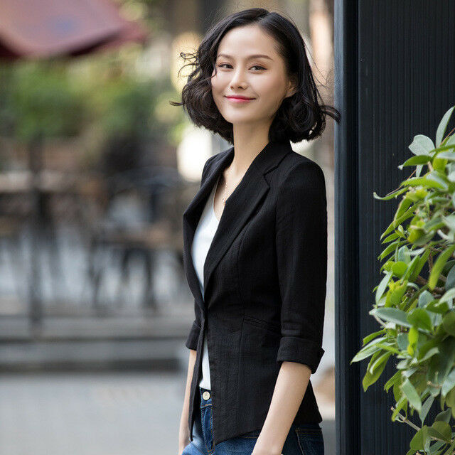 Dimensioneur giacca donna slim corta manica lunga nero elegante slim 7190