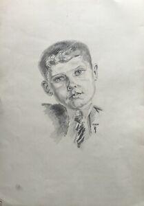 Zeichnung-Portraet-eines-jungen-Mannes-Kind-Boy-im-Anzug-mit-Krawatte-29-4-x-42