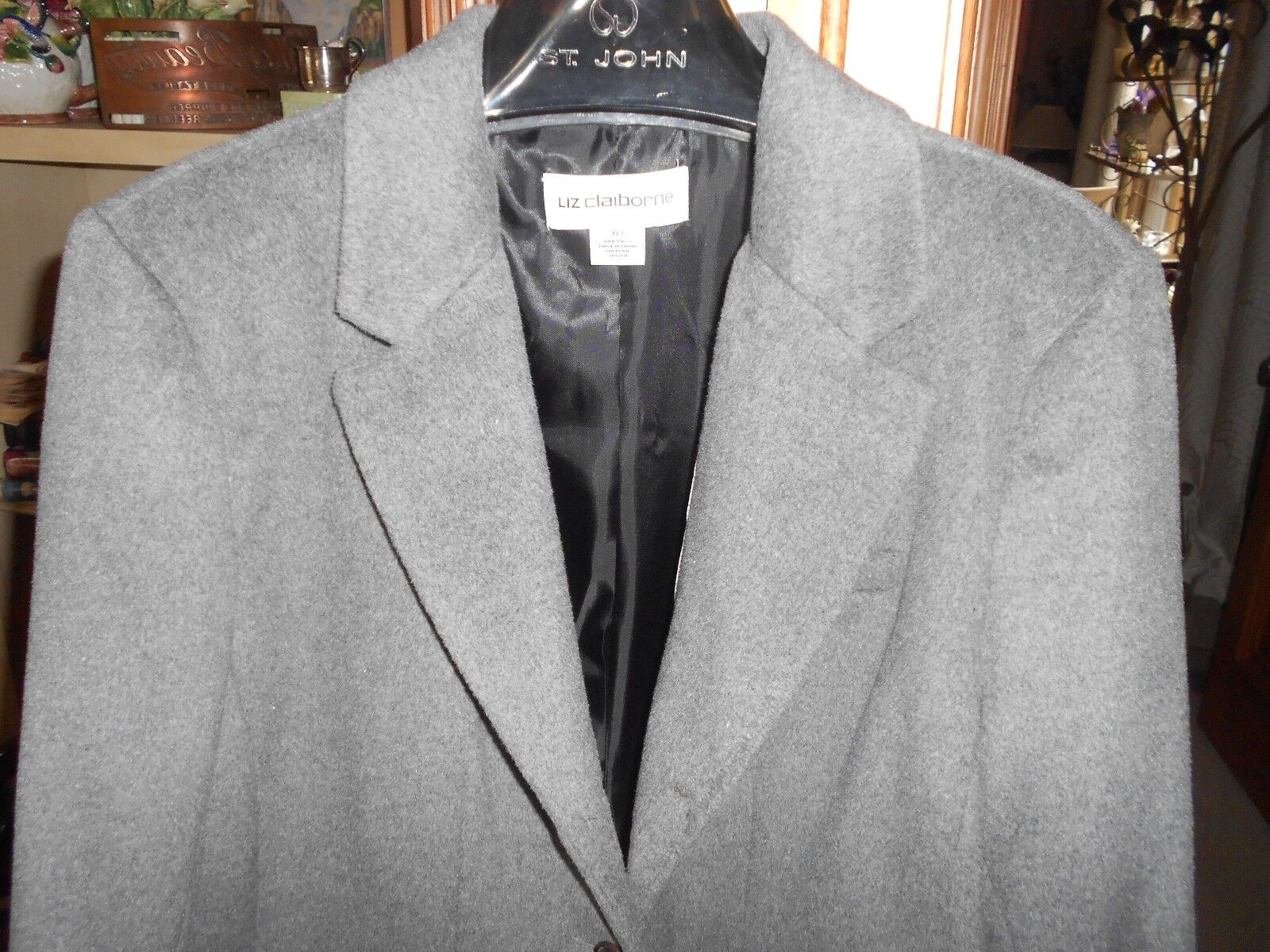 GORGEOUS MED GREY WOOL  COAT LIZ CLAIBORNE XL TALL SIZE 16 18 NWT NICE LINING