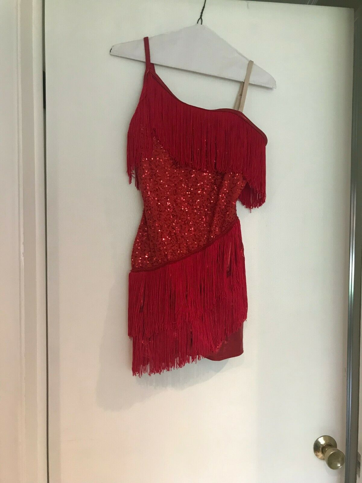 Red and Fringe Figure Ice Skating Dress  Costume (Large)  outlet factory shop