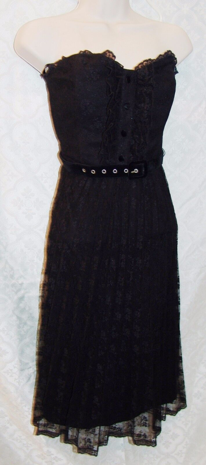 Betsey Johnson 6 schwarz Cocktail Dress Lace Lacey Bustier Punk Fit N Flare damen