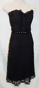 Betsey-Johnson-6-Black-Cocktail-Dress-Lace-Lacey-Bustier-Punk-Fit-N-Flare-womens