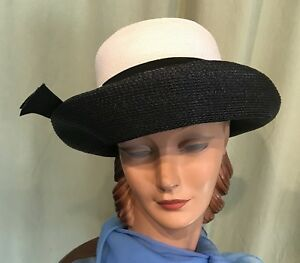 Chic-Vintage-50-039-s-60-039-s-Black-amp-White-Woven-Poly-Straw-Derby-Hat-23