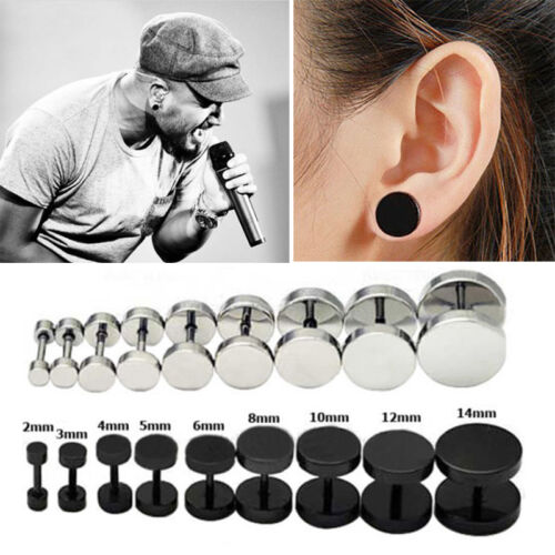 1Pair 2Pcs Mens Jewelry Barbell Punk Gothic Stainless Steel Ear Studs Earri Mj