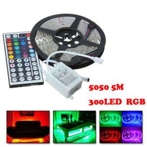 2X-Waterproof-RGB-5M-5050-SMD-300-LED-Flexible-Strip-amp-44-Key-Remote-Control-12V