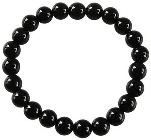 Bracelet Perles Rondes Onyx Noir - 8 mm