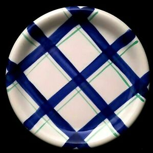 Crown-Corning-Prego-Blue-Green-Plaid-4-Salad-Plates-9-inch-Indonesia-Very-Good
