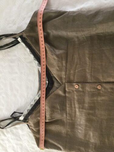 38 Braun Damen Leinenoptik Kleid Edel Gr Sommerkleid Lagenlook Alysi B1g8w